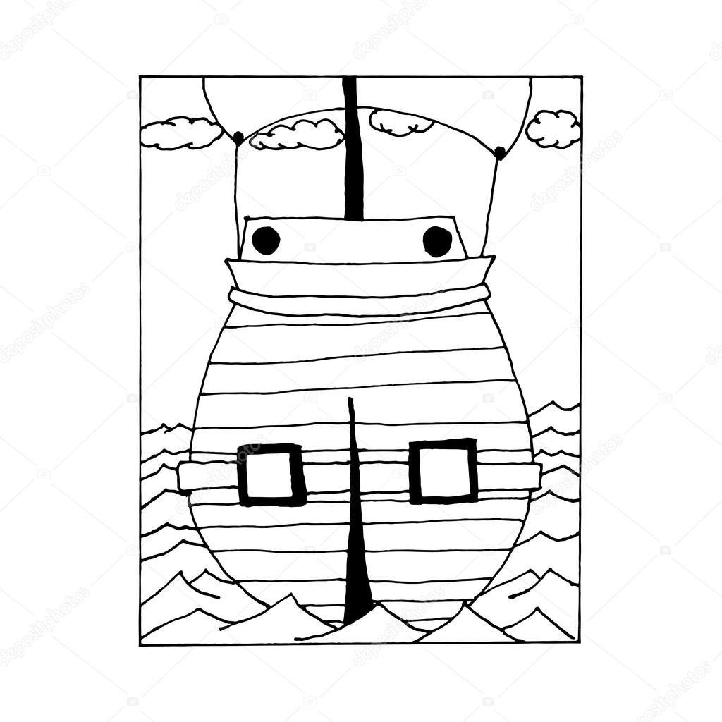 hand zeichnen jahrgang segelschiff auf hoher see im stil der skizze f r die dekoration von. Black Bedroom Furniture Sets. Home Design Ideas