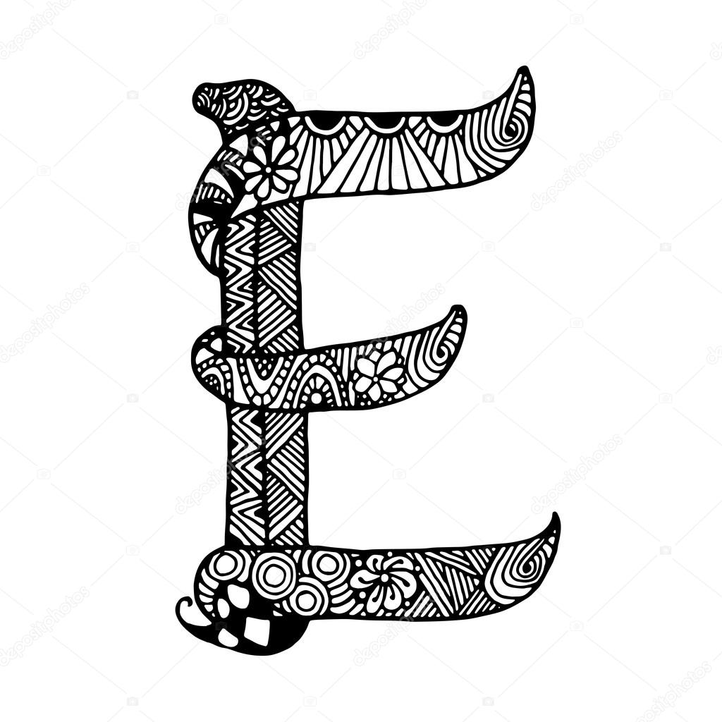 Stock Illustration Hand Draw The Letter E on letter e vector