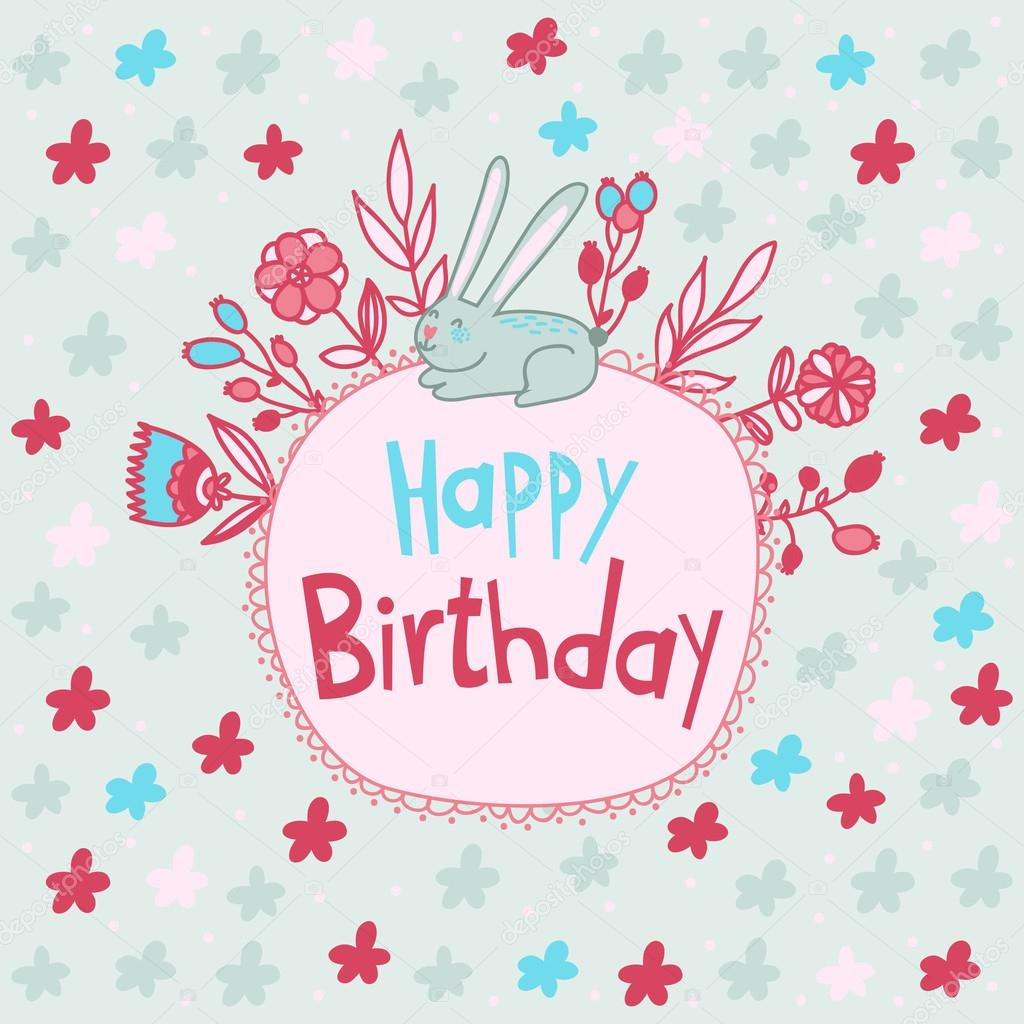 Cute Happy Birthday Card With Funny Bunny And Floral Frame Vector By Martynmarin