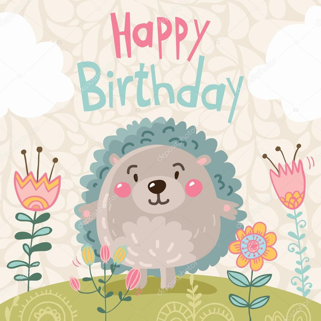 kreslené přání k narozeninám přání k narozeninám s kreslenými Ježek — Stock Vektor  kreslené přání k narozeninám