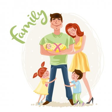 Happy Father's day postcard - Happy family - Mother, Father with baby, daughter and Son, cartoon hand drawn vector illustration