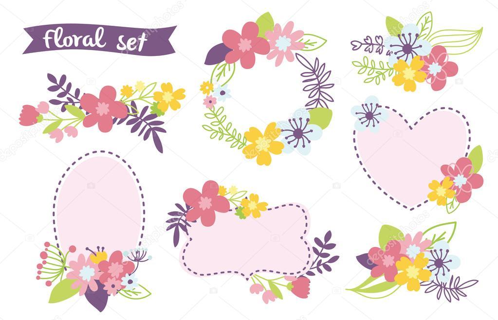 Floral romántico conjunto dibujado a mano. Ilustración de vector con ...