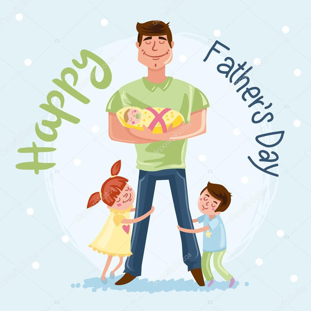 Папа и дочка открытка