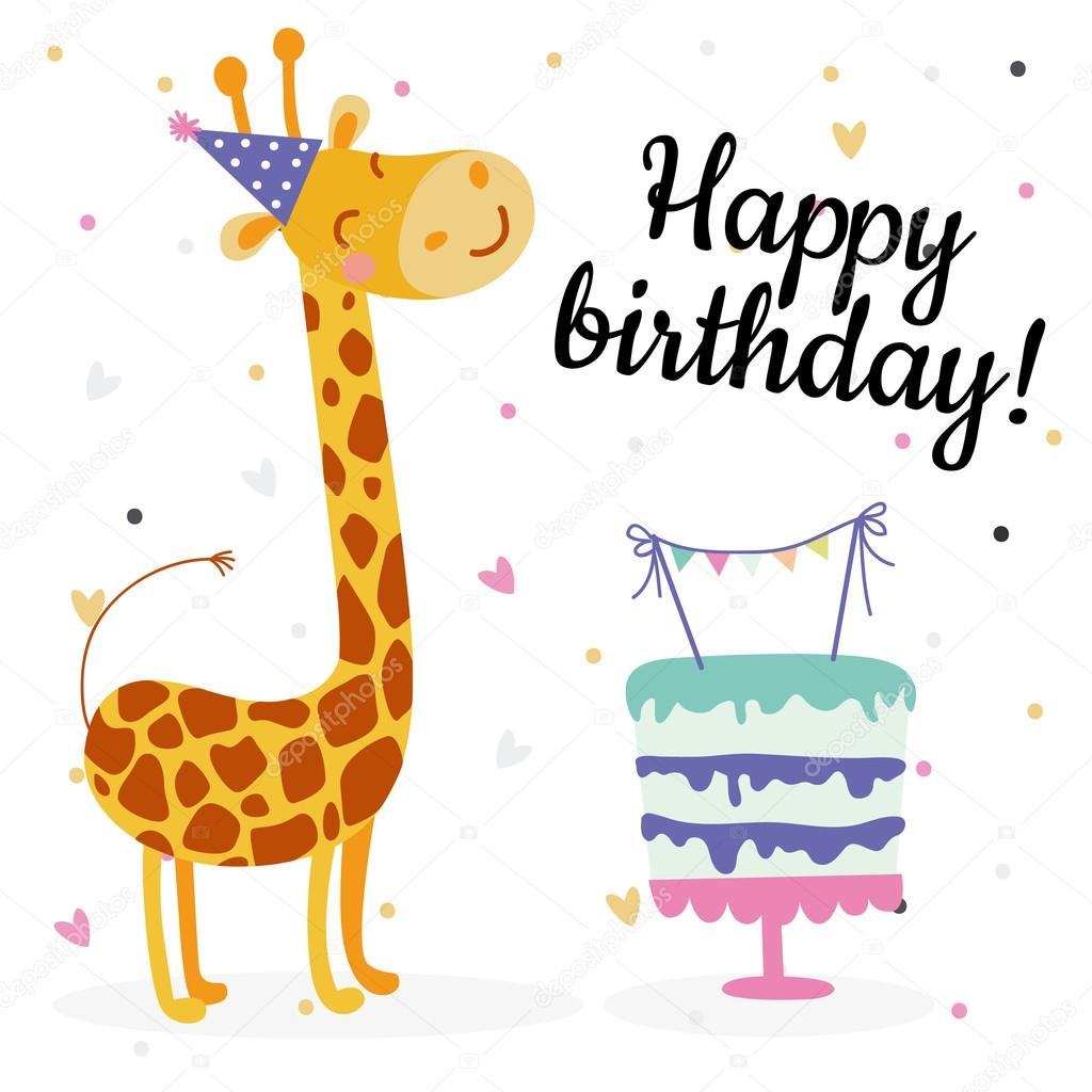Cute birthday greeting cards design with giraffe Vector – Cute Birthday Greeting Cards