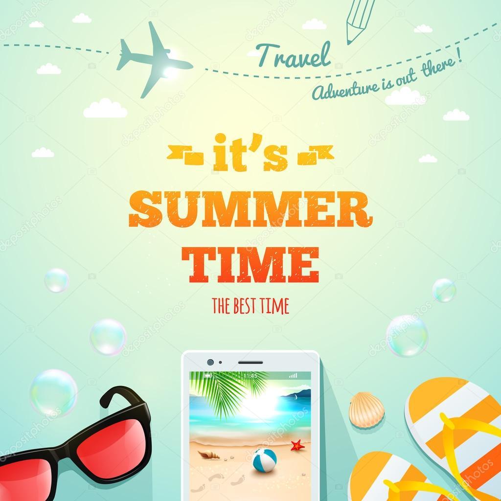 Cartel del verano. Es verano inscripción tipográfica con los ...