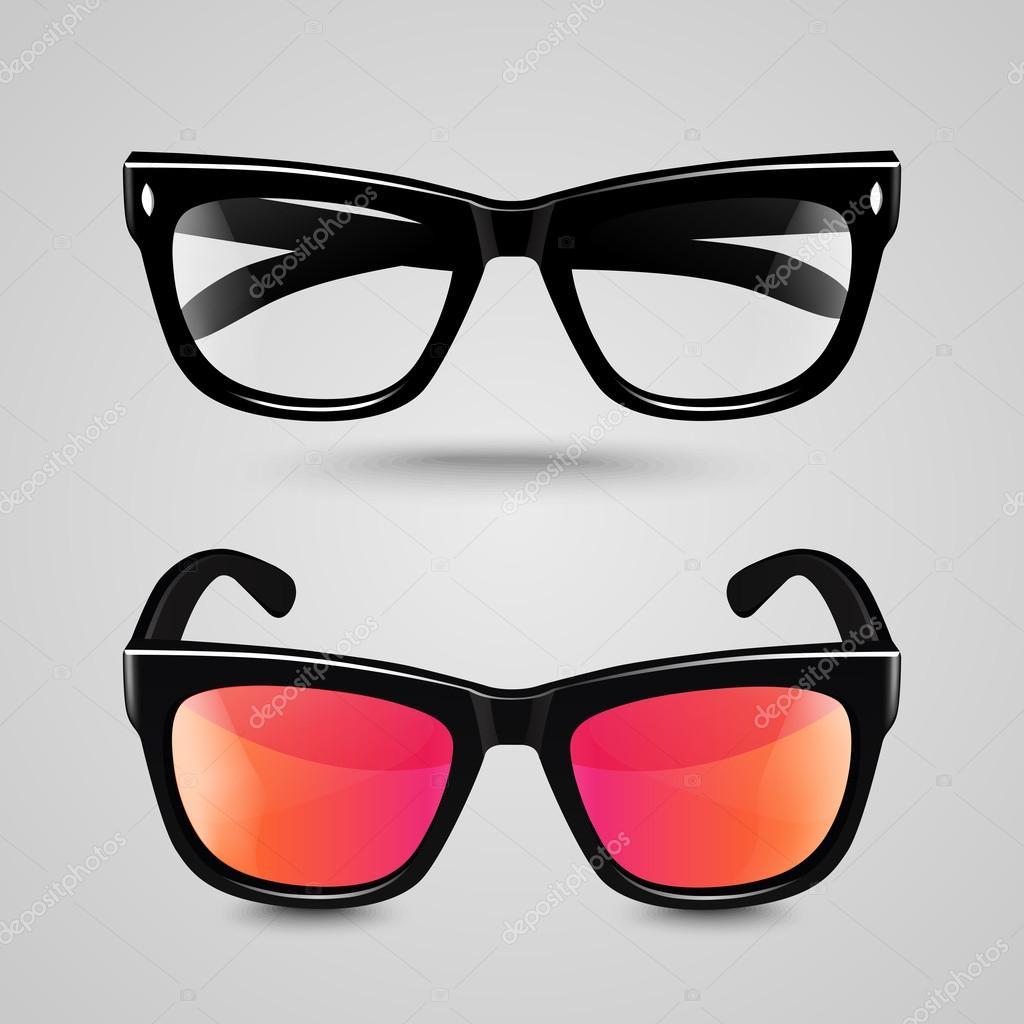 Brillen legen. Sonnenbrillen und lesen Brille mit schwarzer Farbe ...