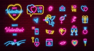 Valentines Day glowing neon icons pack. Vector EPS10 icon
