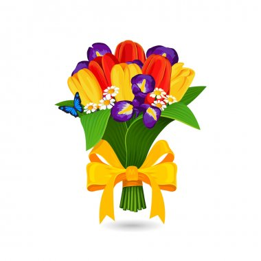 Vector bouquet of red, yellow tulip and blue irises
