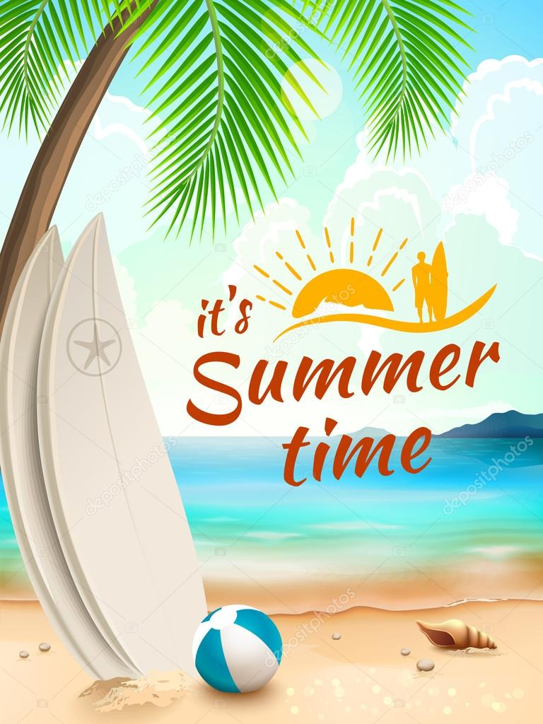 Summer background - surfboard on against beach and waves. Vector illustration