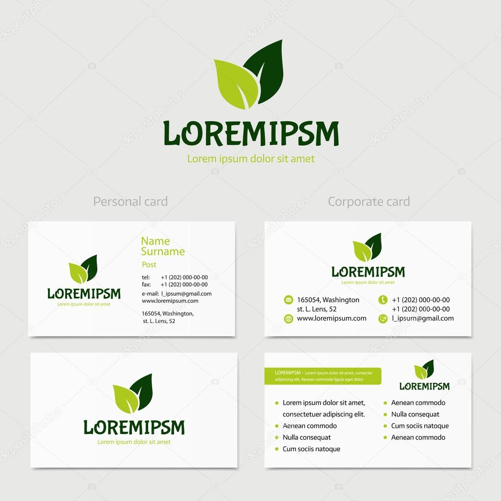 Abstract vector green leaves logotype concept isolated with abstract vector green leaves logotype concept isolated with business card template key ideas is health beauty medicine nature spa reheart Images