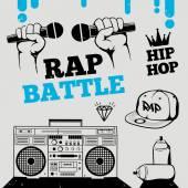 Fotografia Rap hip-hop, breakdance icone musica, battaglia, elementi. Illustrazione vettoriale isolato