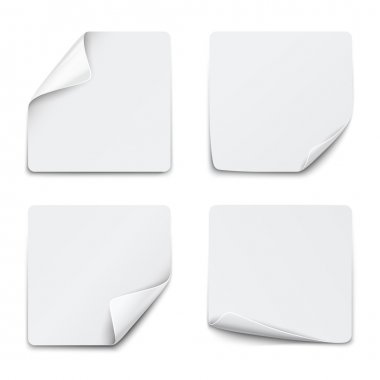 Set of white square paper stickers on white background. Vector illustration