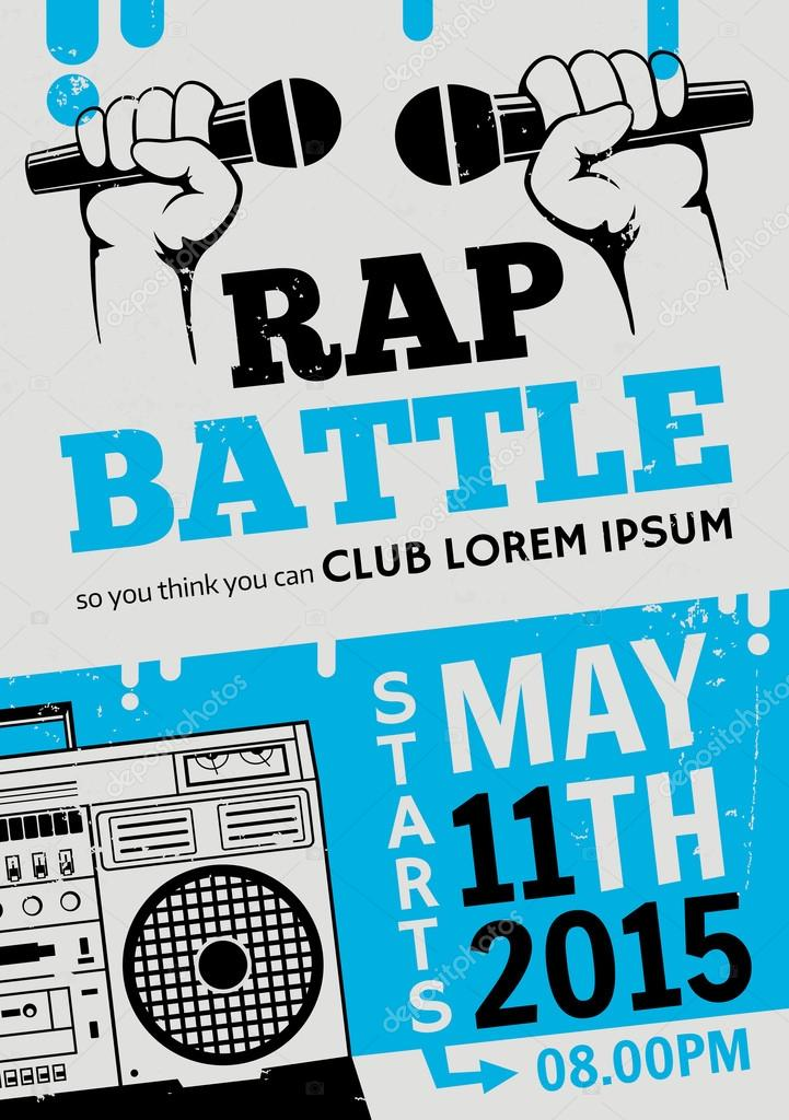 rap battle concert hip hop music vector template design flyer