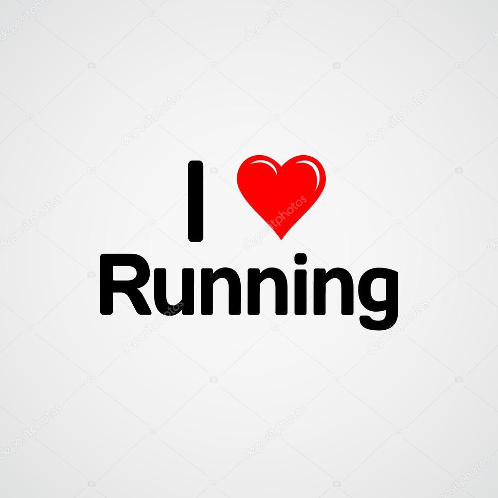 Eu amo correr, tipo de fonte com sinal de coração
