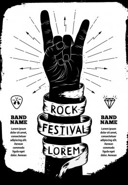 Rock festival poster. Rock and Roll hand sign stock vector