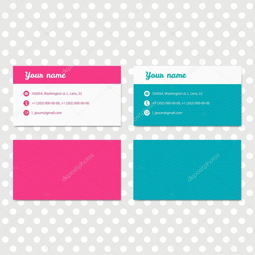Plantilla de tarjeta de visita de color rosa y azul para identidad ...