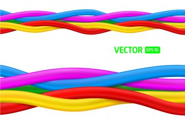Abstract colorful curly wires. Seamless vector