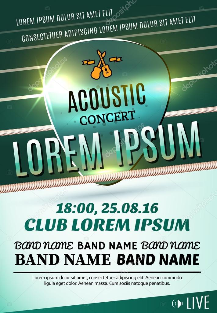 Modern poster for a acoustic concert or a rock festival. Vector illustration
