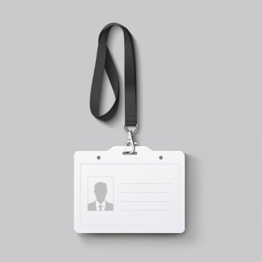 id badge with lanyard. Vector illustration
