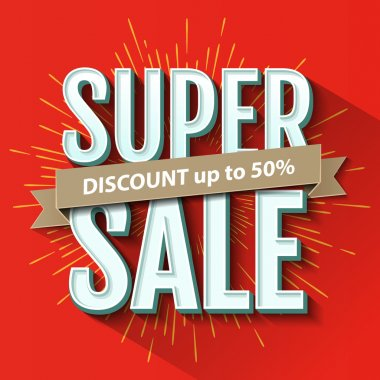 Super Sale inscription, design template. Super Sale banner. Vector illustration