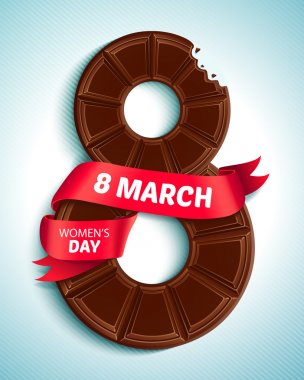 8 March, Women's Day. Greeting card with chocolate and red ribbon
