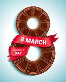 8. březen, Womens den. Přání s čokoládou a červenou stuhou