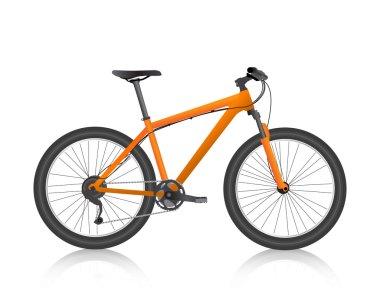 Realistic mountain bike orange vector