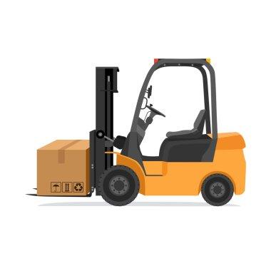 Forklift truck with box. Modern vector illustration