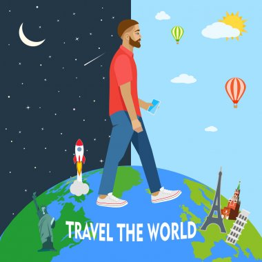 Modern man travels the world. Day, night. Vector illustration