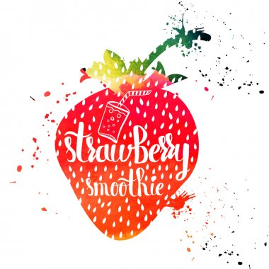 Colorful watercolor print of the ornament in the silhouette of vegetarian berries. Sweet strawberry smoothie. Vector
