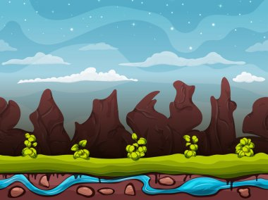 Seamless cartoon nature landscape, unending background with ground, bushes on the background of mountains and rocks with cloudy sky layers. Vector