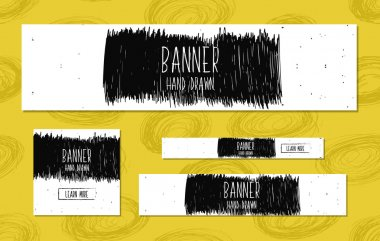 Set of Web Banners Templates hand drawn modern style for the design of web sites and online shops. Vector
