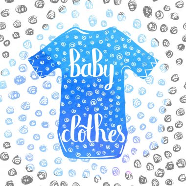 Hand-lettered  a colorful poster advertising children's clothing for boys. Vector