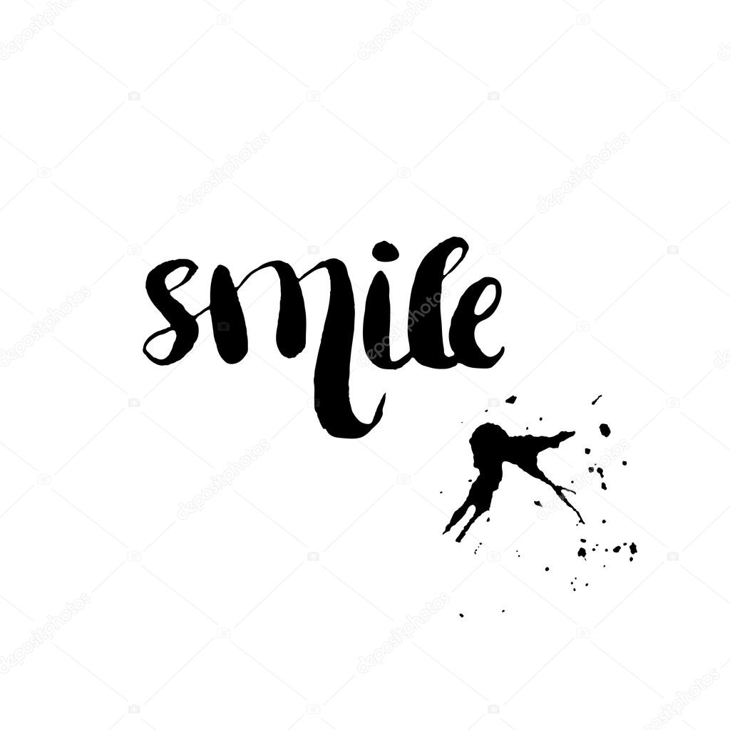 Stencil Lettering Quotes Smile Isolated On A White Background