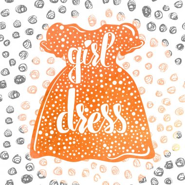 Hand-lettered  a colorful poster advertising children's clothes and dresses for little girls. Vector