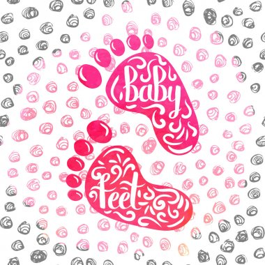 Hand-lettered  a colorful poster advertising the prints of children's feet. Casts from clay and clay in memory of the birth of a baby girl. Vector