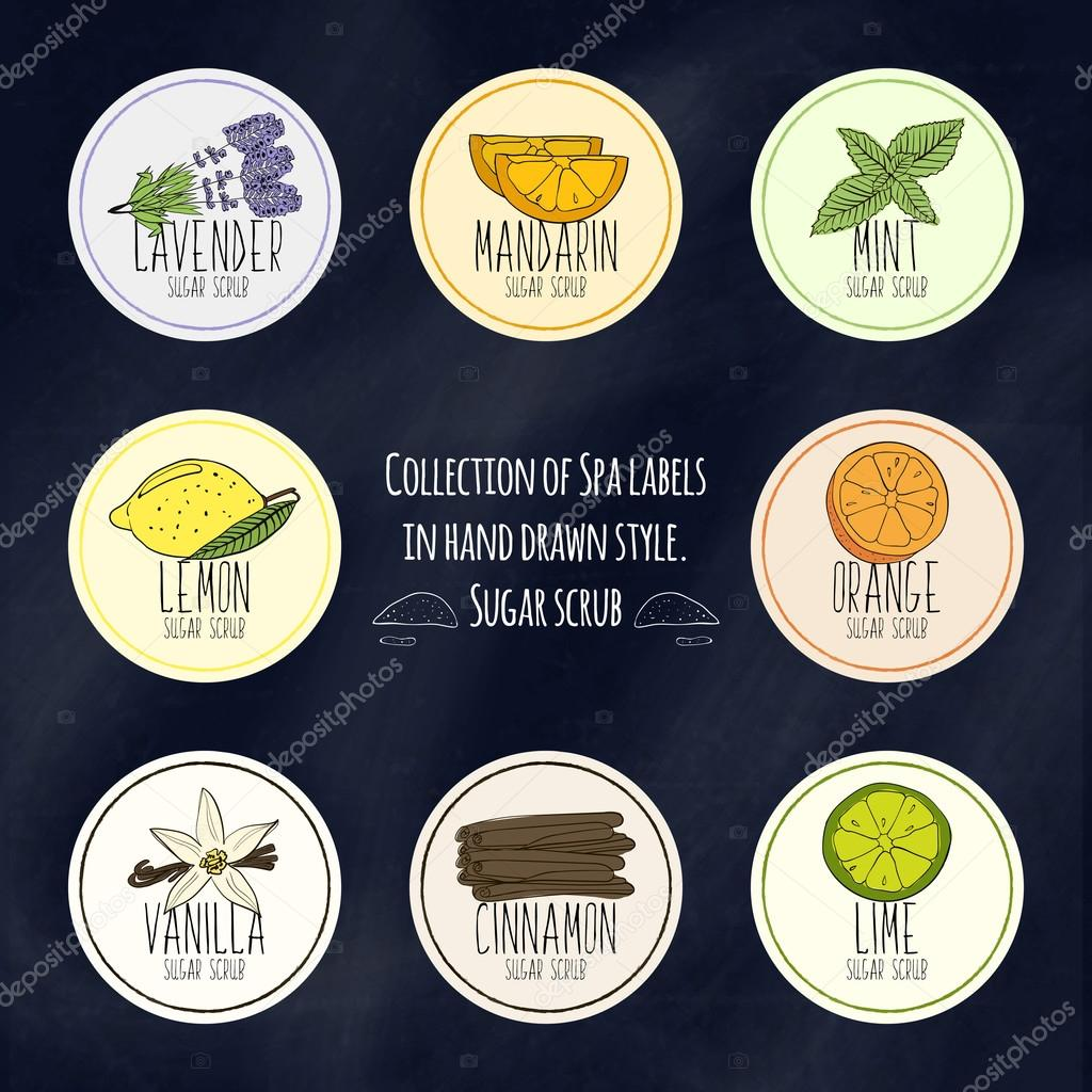 A large collection of labels for decorating packages from body scrubs and face in colorful hand drawn style. Vector