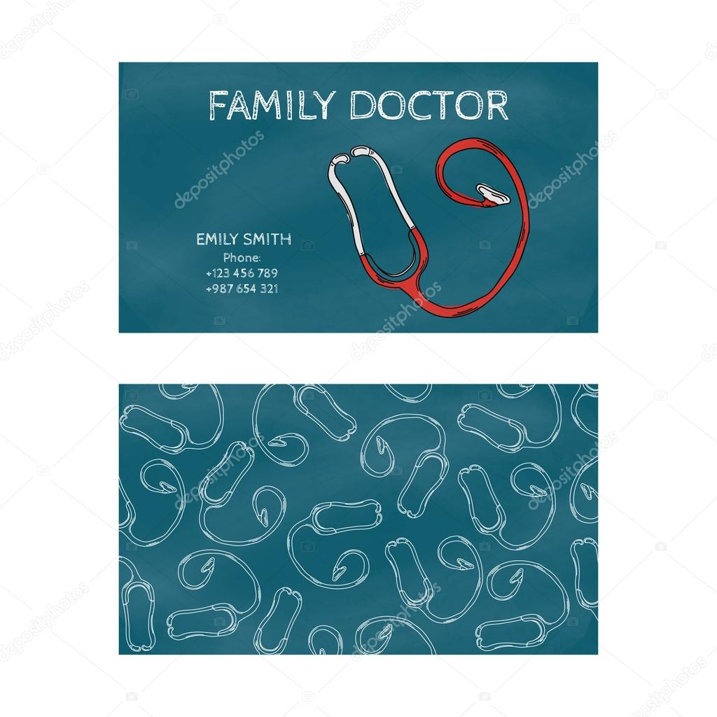 Template professional blue business card for printing in the template professional blue business card for printing in the printing industry isolated on white background family doctor internist pediatrician reheart Gallery