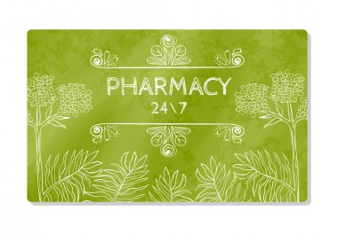 Business card or storefront pharmacies that sell medicines and dietary supplements. Vector