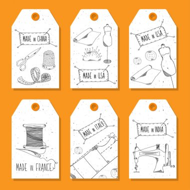 Printable tags in a retro style Hand-drawn. Sewing devices, devices for manufacturing, tailoring and textiles. Made in the USA, China, India and Germany. Fashion Europe and America. Vector