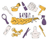 Colourful childrens illustration with a pencil. The collection of linear hand drawn icons. Icons Barber tools. The beauty industry. Vector