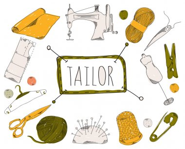 Colourful childrens illustration with a pencil. The collection of linear hand drawn icons. Icons the tools of the weaver and seamstress. Vector