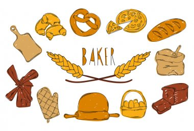 Colourful childrens illustration with a pencil. The collection of linear hand drawn icons.Baking icons. Vector