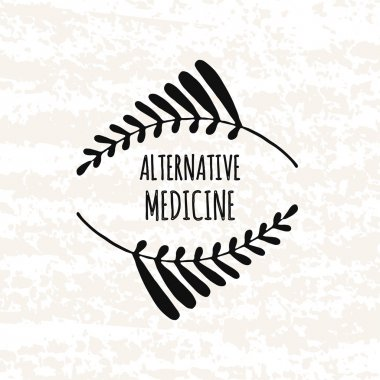 Logo in the style of hand drawn. Hand drawn elements in the decorative frame alternative medicine. Sticker, badge or card for production in print and stores. Vector