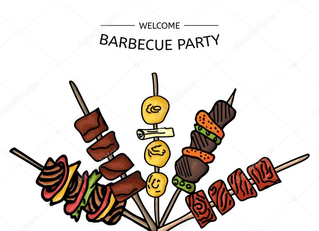 Colorful vector illustration of a BBQ party on a white background