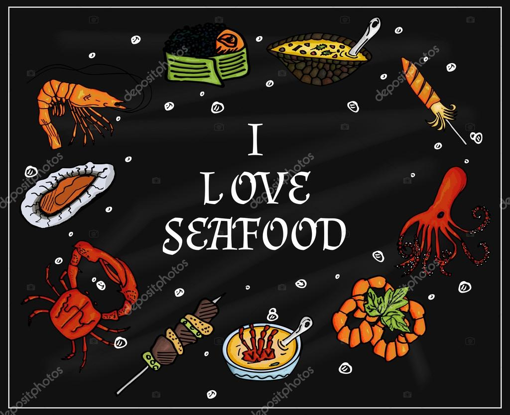 I love seafood on the blackboard with chalk. Isolated set of sea products and delicatessen, food gourmet