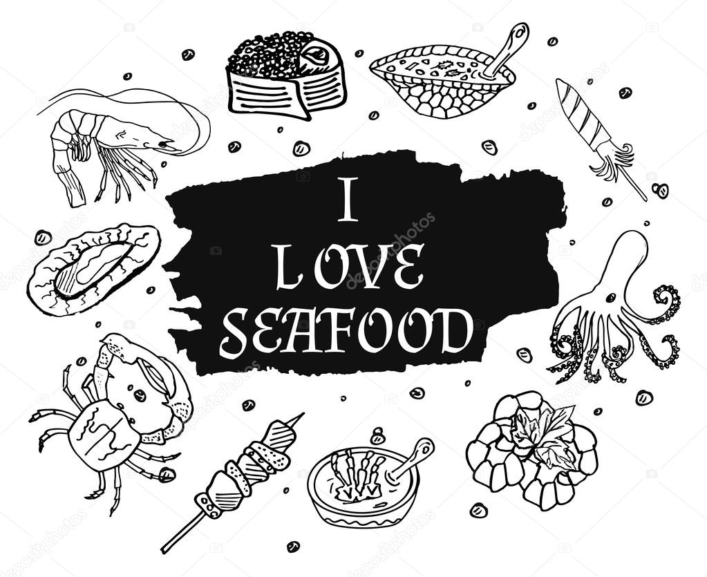 I love seafood in monochrome black and white style, suitable for printing. Isolated set of sea products and delicatessen, food gourmet