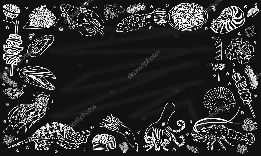 Background seafood on the blackboard.Vector illustration with space for text