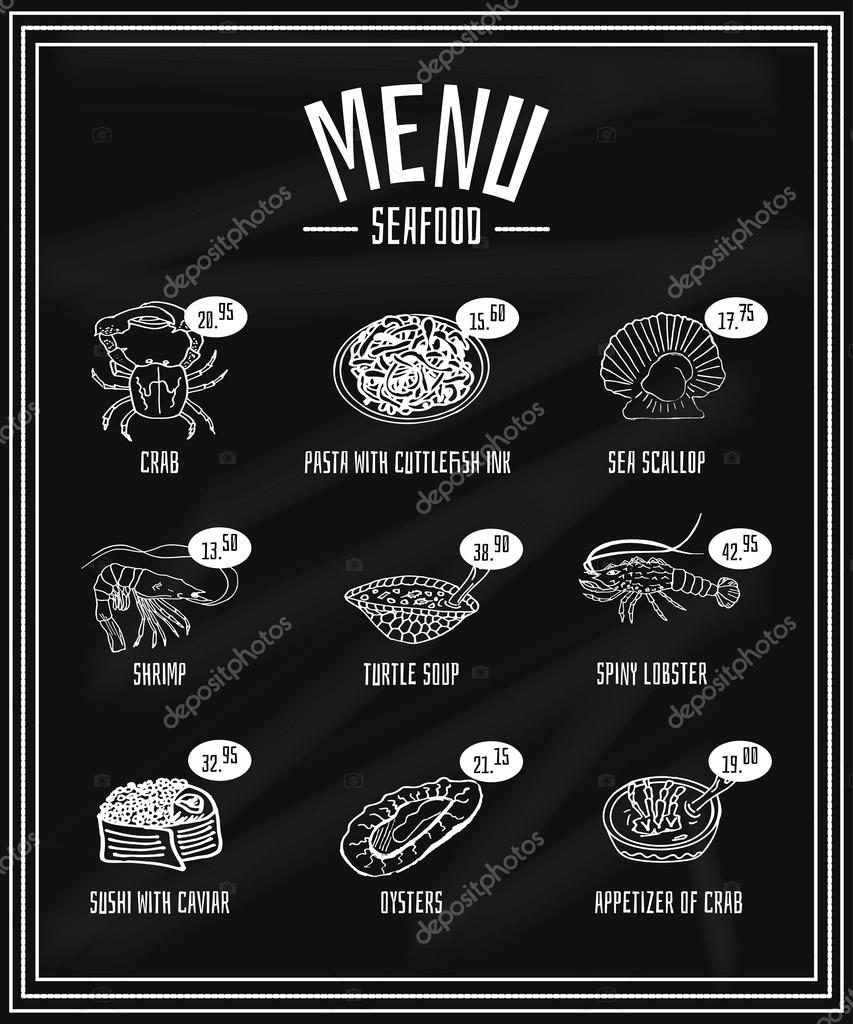 Retro menu of seafood and delicacies on the blackboard, crab, scallops, oysters, turtle soup, pasta, sushi, shrimp, lobster, soup, appetizer
