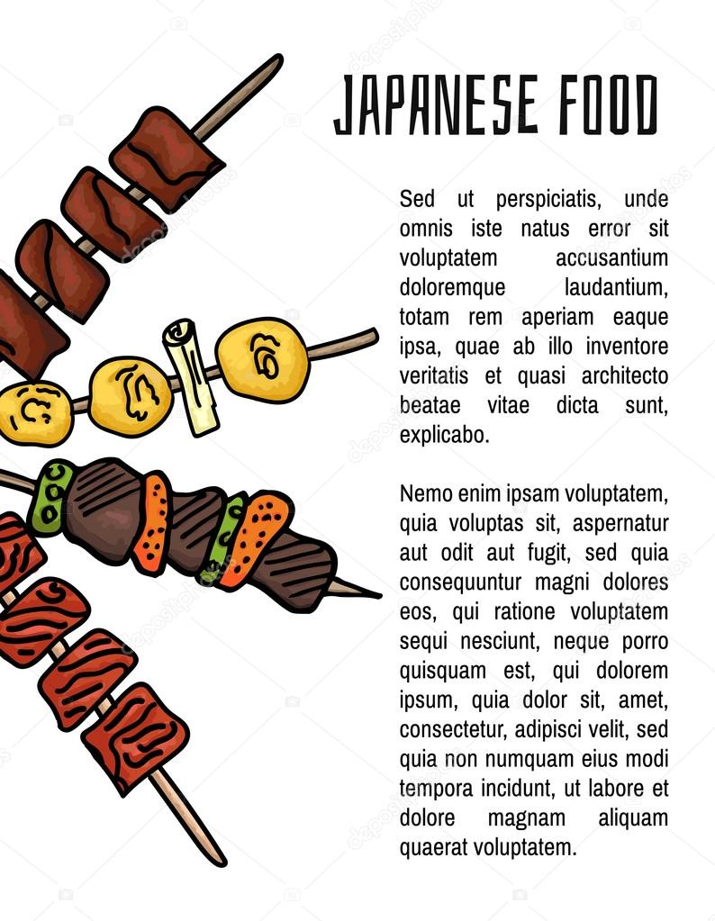 Japanese dishes. Background with Japanese Yakitori dish for your design. Colorful vector illustration on white background
